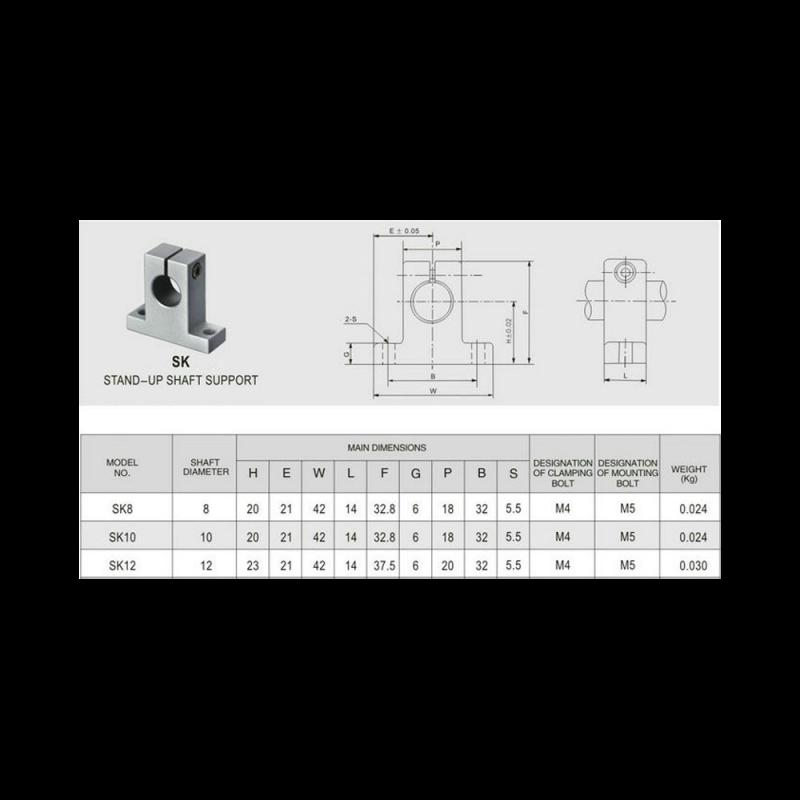 SK10 10mm vertical shaft support